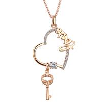 comeon® Schmuck Halskette, Zinklegierung, Herz und Schlüssel, echtes Rósegold plattiert, Oval-Kette & mit Strass, frei von Nickel, Blei & Kadmium, 78x39mm, verkauft per ca. 17.7 ZollInch Strang