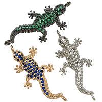 Befestiger Zirkonia Messing Schmuckverbinder, Gecko, plattiert, Micro pave Zirkonia & 1/1-Schleife, gemischte Farben, frei von Nickel, Blei & Kadmium, 13x29x5mm, Bohrung:ca. 1mm, 10PCs/Menge, verkauft von Menge