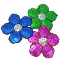 Nähen-auf Patch, Stoff, mit Kunststoff Pailletten, Blume, gemischte Farben, 77x1mm, 99PCs/Tasche, verkauft von Tasche