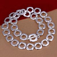 Zinklegierung Kette Halskette, Quadrat, versilbert, frei von Nickel, Blei & Kadmium, 15mm, verkauft per ca. 20 ZollInch Strang