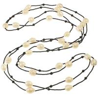 Süßwasserperlen Pullover Halskette, Natürliche kultivierte Süßwasserperlen, mit Kristall & Glas-Rocailles, Reis, natürlich, weiß, 10-12mm, verkauft per ca. 73 ZollInch Strang