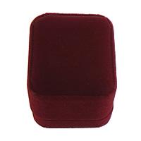 Baumwollsamt Ringkasten, Kunststoff, mit Baumwollsamt, Rechteck, dunkelrot, 50x58x48mm, 30PCs/Menge, verkauft von Menge