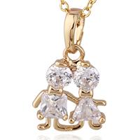 Gets® Schmuck Halskette, Messing, Charakter, 18 K vergoldet, Oval-Kette & mit kubischem Zirkonia, frei von Nickel, Blei & Kadmium, 12x21mm, verkauft per ca. 17.5 ZollInch Strang