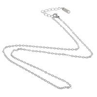 Halskette, Edelstahl, mit Verlängerungskettchen von 2lnch, unterschiedliche Länge der Wahl & Oval-Kette, originale Farbe, 2.20x1.50x0.20mm, 100SträngeStrang/Menge, verkauft von Menge
