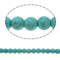 Türkis Perlen, Synthetische Türkis, rund, grün, 10mm, Bohrung:ca. 1mm, ca. 40PCs/Strang, verkauft per ca. 14.5 ZollInch Strang