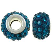 Strass Perlen European Stil, Ton, Rondell, mit 52 Stück Strass & Messing-Dual-Core ohne troll, blau, 13x8.5mm, Bohrung:ca. 5.5mm, 50PCs/Tasche, verkauft von Tasche
