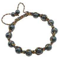 Non- magnetische Hämatit Woven Ball Armband, mit Nylonschnur, farbenfroh, 10mm, verkauft per ca. 7.5 ZollInch Strang