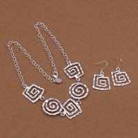 comeon® Schmuck-Set, Ohrring & Halskette, Messing, versilbert, Rundgliederkette, frei von Nickel und Blei, 36x20mm, Länge:ca. 18 ZollInch, verkauft von setzen