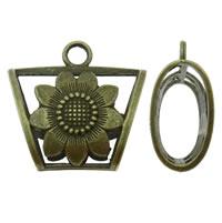 Zink-Legierung Schal Slide Bail, Zinklegierung, Trapez, antike Bronzefarbe plattiert, frei von Blei & Kadmium, 39x37x18mm, Bohrung:ca. 5.5mm, verkauft von PC