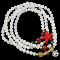 Natürliche Koralle Multilayer Armbänder, mit Türkis & Drachenvenen Achat & Kristall & Zinklegierung, 4-Strang, weiß, 4mm, 9x20mm, verkauft per ca. 26 ZollInch Strang