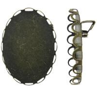 Eisen Broschen Zubehöre, flachoval, antike Bronzefarbe plattiert, frei von Nickel, Blei & Kadmium, 18x25.5x7mm, Innendurchmesser:ca. 17.5x24mm, 100PCs/Tasche, verkauft von Tasche