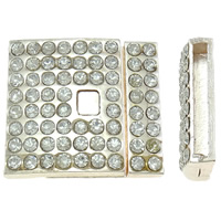 Zinklegierung Magnetverschluss, Rechteck, Rósegold-Farbe plattiert, mit Strass, frei von Nickel, Blei & Kadmium, 25x22.50x6mm, Bohrung:ca. 20x2mm, 10PCs/Tasche, verkauft von Tasche