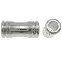 Zinklegierung Rohr Perlen, Platinfarbe platiniert, frei von Nickel, Blei & Kadmium, 20.5x10mm, Bohrung:ca. 6mm, 10PCs/Tasche, verkauft von Tasche