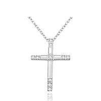 comeon® Schmuck Halskette, Messing, Kreuz, versilbert, Oval-Kette & mit kubischem Zirkonia, 23x31mm, verkauft per ca. 18 ZollInch Strang