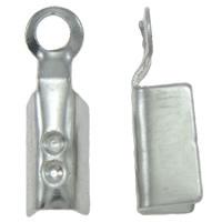 Eisen Endkappe, Rechteck, Platinfarbe platiniert, frei von Nickel, Blei & Kadmium, 3x11x3mm, Bohrung:ca. 1mm, 5000PCs/Tasche, verkauft von Tasche