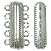 Zinklegierung Magnetverschluss, plattiert, 5-litzig, keine, frei von Nickel, Blei & Kadmium, 28x14.50x7mm, Bohrung:ca. 1mm, 20PCs/Tasche, verkauft von Tasche
