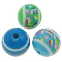 Harz Schmuckperlen, rund, verschiedene Größen vorhanden, gemischte Farben, Bohrung:ca. 3mm, verkauft von Tasche