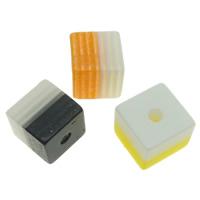 Gestreifte Harz Perlen, Würfel, Streifen, gemischte Farben, 8x8mm, Bohrung:ca. 1.5mm, 1000PCs/Tasche, verkauft von Tasche