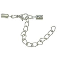 Eisen Karabinerverschluss, mit Verlängerungskettchen von 3cm, plattiert, mit Kabel Spitze, keine, frei von Nickel, Blei & Kadmium, 4.50x89x5mm, 100PCs/Tasche, verkauft von Tasche