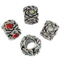 Messing European Perlen, Kreisring, antik silberfarben plattiert, ohne troll & mit Strass, keine, frei von Nickel, Blei & Kadmium, 9x12mm, Bohrung:ca. 5mm, 200PCs/Menge, verkauft von Menge