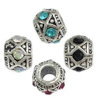 Messing European Perlen, Rondell, antik silberfarben plattiert, ohne troll & mit Strass, keine, frei von Nickel, Blei & Kadmium, 8.50x12mm, Bohrung:ca. 5mm, 200PCs/Menge, verkauft von Menge