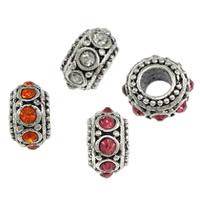 Messing European Perlen, Rondell, antik silberfarben plattiert, ohne troll & mit Strass, keine, frei von Nickel, Blei & Kadmium, 7x11mm, Bohrung:ca. 4.5mm, 200PCs/Menge, verkauft von Menge