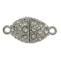 Zinklegierung Magnetverschluss, oval, Platinfarbe platiniert, mit Strass & Einzelstrang, frei von Nickel, Blei & Kadmium, 25x13mm, Bohrung:ca. 2mm, 50PCs/Menge, verkauft von Menge