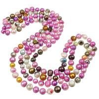 Natürliche kultivierte Süßwasserperlen Pullover Halskette, mit Glas-Rocailles, Barock, farbenfroh, 7-11mm, verkauft per ca. 59 ZollInch Strang