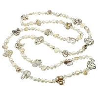Natürliche kultivierte Süßwasserperlen Pullover Halskette, mit Kristall, Keishi, weiß, 7-20mm, verkauft per ca. 48.5 ZollInch Strang