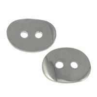 Ovale Taste Verschluss, Edelstahl, flachoval, originale Farbe, 14x11x1mm, Bohrung:ca. 1.8mm, 1000PCs/Menge, verkauft von Menge