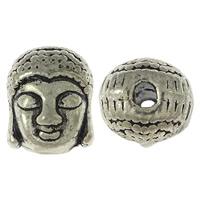 Buddhistische Perlen, Zinklegierung, Buddha, Platinfarbe platiniert, buddhistischer Schmuck & Schwärzen, frei von Blei & Kadmium, 9x10.50x8mm, Bohrung:ca. 2mm, 1000PCs/Menge, verkauft von Menge