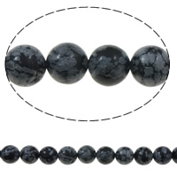 Schneeflocke Obsidian, rund, 10mm, Bohrung:ca. 1mm, ca. 38PCs/Strang, verkauft per ca. 15 ZollInch Strang