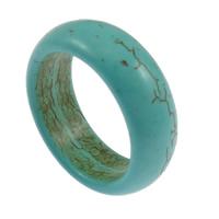 Türkis Fingerring, Synthetische Türkis, blau, 8mm, Größe:11, 100PCs/Menge, verkauft von Menge