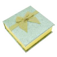 Karton Armbandkasten, mit Baumwollsamt, Quadrat, Goldfarbe, 90x95x34mm, verkauft von PC