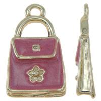 Zinklegierung Handtasche Anhänger, vergoldet, hochwertige Beschichtung und nie verblassen & Emaille, frei von Blei & Kadmium, 12x20x3mm, Bohrung:ca. 2mm, 10PCs/Tasche, verkauft von Tasche