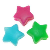 Volltonfarbe Acryl Perlen, Stern, gemischte Farben, 13x7mm, Bohrung:ca. 4mm, ca. 1000PCs/Tasche, verkauft von Tasche