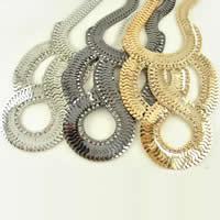 Eisen Halsketten, plattiert, Fischgräten-Kette, gemischte Farben, frei von Nickel, Blei & Kadmium, 105x130mm, Länge:ca. 17.5 ZollInch, 5SträngeStrang/Tasche, verkauft von Tasche