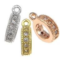 Messing Stiftöse Perlen, Kreisring, plattiert, Micro pave Zirkonia, keine, frei von Nickel, Blei & Kadmium, 2.50x9x8mm, Bohrung:ca. 1mm, 30PCs/Tasche, verkauft von Tasche