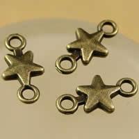 Sterne Zink Legierung Verbinder, Zinklegierung, antike Bronzefarbe plattiert, 1/1-Schleife, frei von Nickel, Blei & Kadmium, 15x7.5mm, Bohrung:ca. 1.5-2.5mm, 200PCs/Tasche, verkauft von Tasche