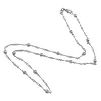 Messingkette Halskette, Messing, Platinfarbe platiniert, Singapur-Kette, frei von Nickel, Blei & Kadmium, 3.5mm, 1.5mm, Länge:ca. 16 ZollInch, 50SträngeStrang/Menge, verkauft von Menge