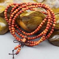 108 Mala Perlen, Hua Qinan Holz, mit elastische Nylonschnur, rund, unterschiedliche Länge der Wahl & buddhistischer Schmuck & verschiedene Größen vorhanden & 4-Strang, verkauft von Menge