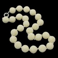 Koralle Halskette, Synthetische Koralle, Messing Federring Verschluss, rund, geschnitzt, beige, 18mm, verkauft per ca. 19.5 ZollInch Strang