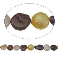 Münze Süßwasser Zuchtperlen, Natürliche kultivierte Süßwasserperlen, gemischte Farben, Grade A, 10-11mm, Bohrung:ca. 0.8mm, verkauft per ca. 15.3 ZollInch Strang