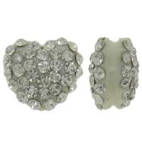 Harz Perlen Strass, Herz, mit Strass, keine, 13x12x8mm, Bohrung:ca. 2mm, 10PCs/Tasche, verkauft von Tasche