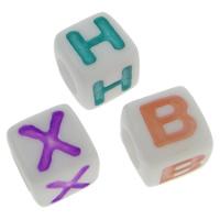 ABS-Kunststoff Alphabet Perlen, ABS Kunststoff, gemischt, 7x7mm, Bohrung:ca. 4mm, ca. 1950PCs/Tasche, verkauft von Tasche