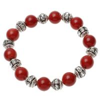 Natürliche Koralle Armband, mit Messing Strass Zwischenstück, rot, 10mm, 8x9mm, Länge:ca. 7.5 ZollInch, 12SträngeStrang/Menge, verkauft von Menge