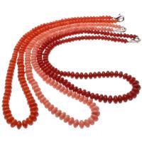 Natürliche Koralle Halskette, Messing Karabinerverschluss, flache Runde, keine, 6x4mm, verkauft per ca. 18 ZollInch Strang