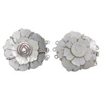 Muschel Schnappschließe, mit Messing, Blume, 3-Strang, 40x35x10mm, Bohrung:ca. 1.5mm, verkauft von PC