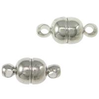 Zinklegierung Magnetverschluss, oval, plattiert, Einzelstrang, keine, frei von Nickel, Blei & Kadmium, 11x5mm, Bohrung:ca. 1mm, 200PCs/Menge, verkauft von Menge
