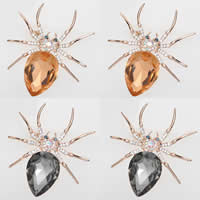 Kristall Brosche, Zinklegierung, mit Kristall, Spinne, Rósegold-Farbe plattiert, facettierte & mit Strass, gemischte Farben, frei von Nickel, Blei & Kadmium, 50mm, 2PCs/Tasche, verkauft von Tasche